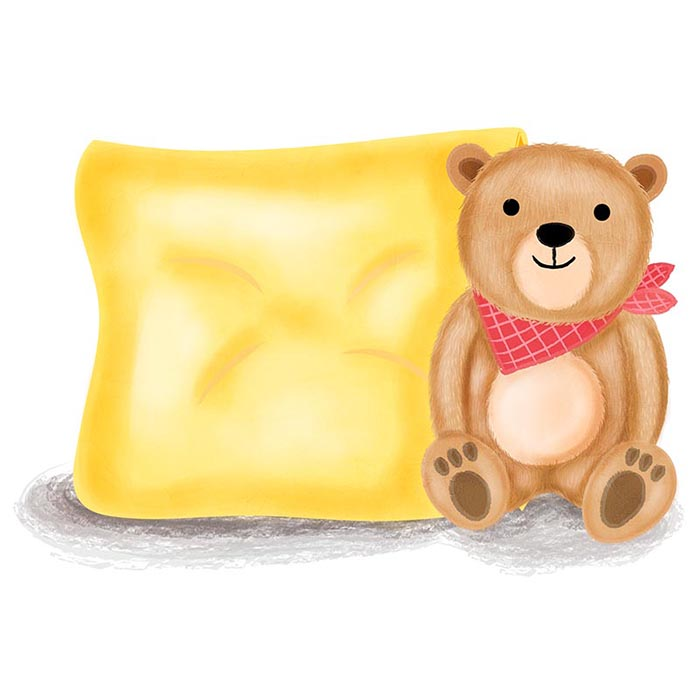teddy bear and pillow illustration