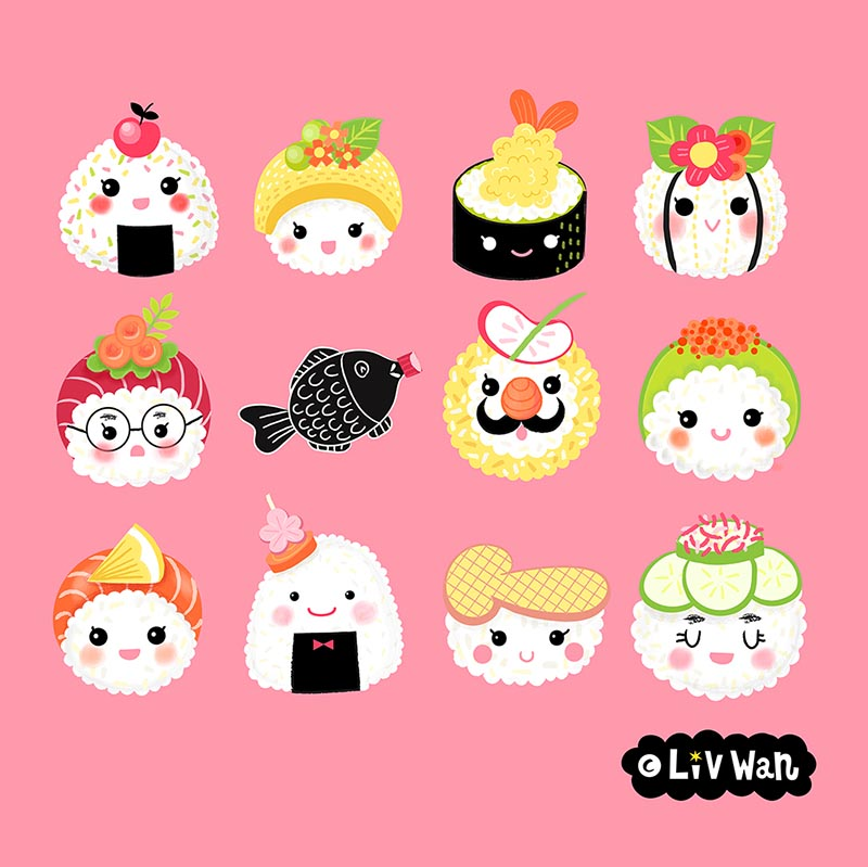 kawaii sushi pattern
