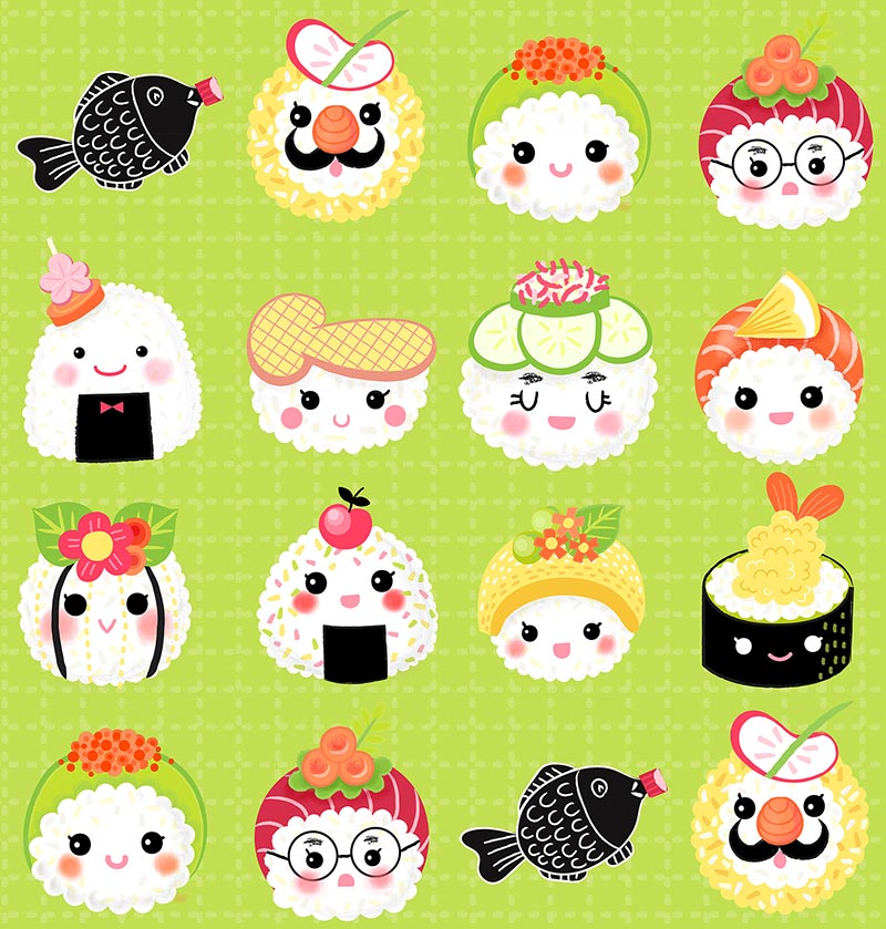 kawaii sushi green pattern