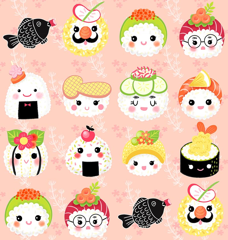 kawaii sushi pattern in peach grass