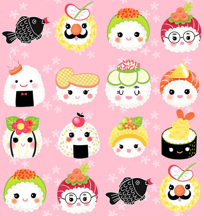 kawaii sushi pattern pink flower