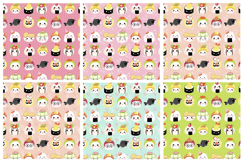 kawaii sushi patterns