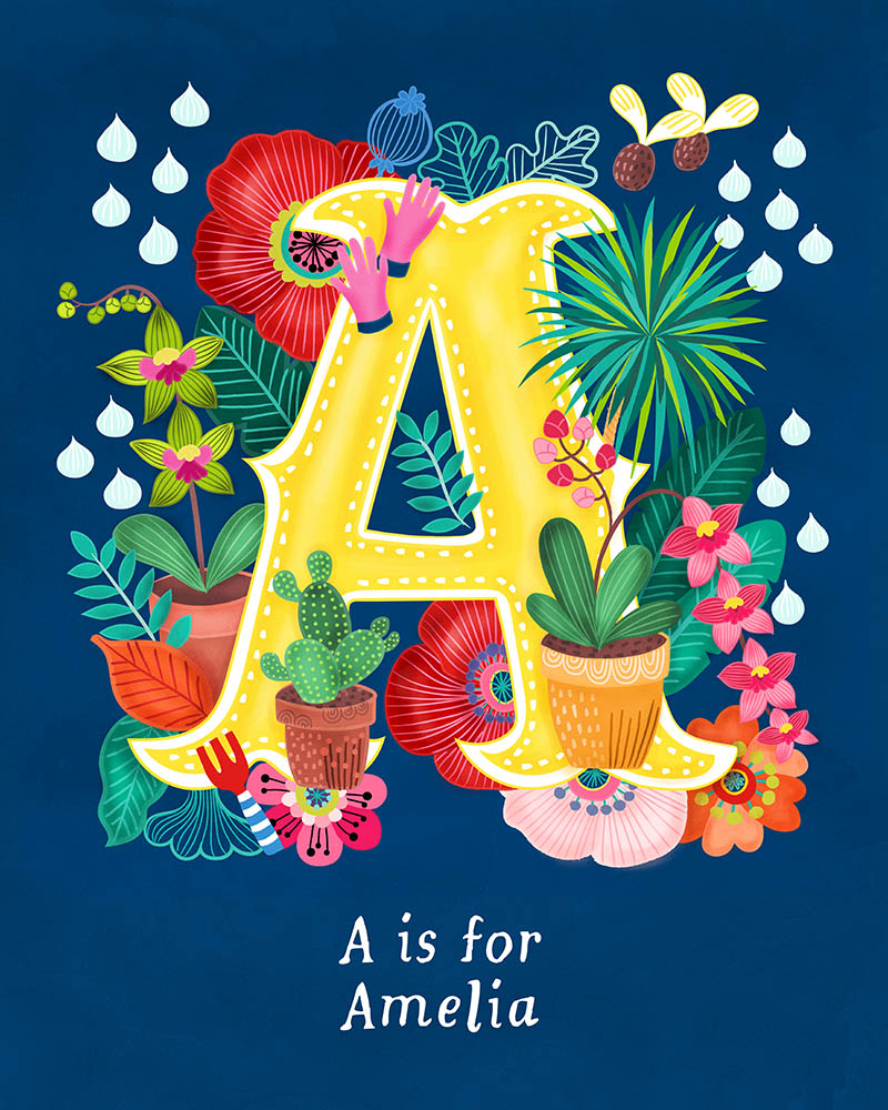 A for Amelia Personalised Initial Letter Illustration
