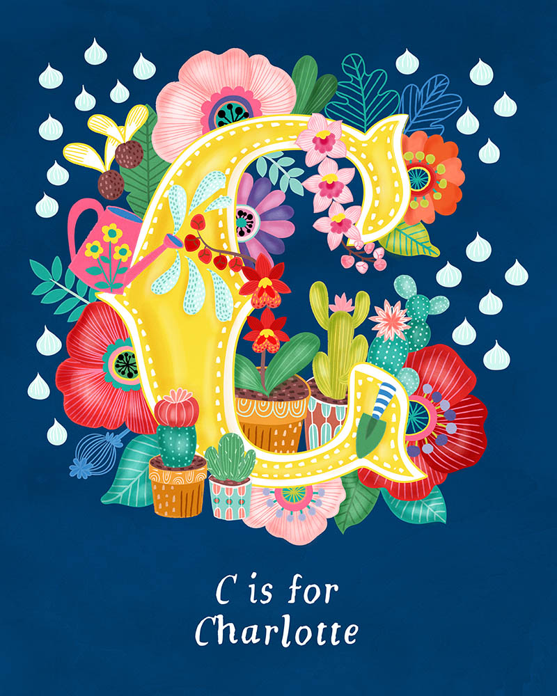 C for Charlotte Personalised Initial Letter Illustration