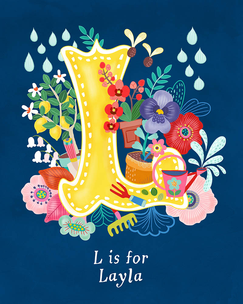 L for Layla Personalised Initial Letter Illustration