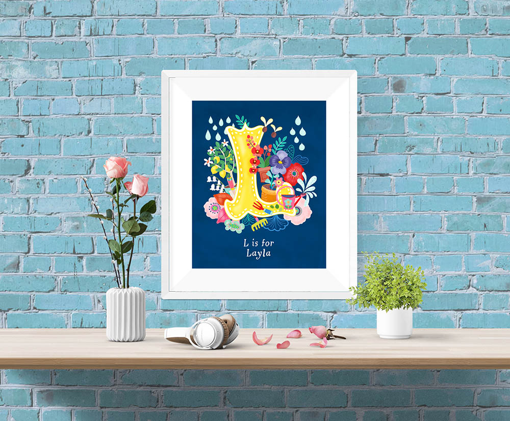 L Letter Illustration Framed