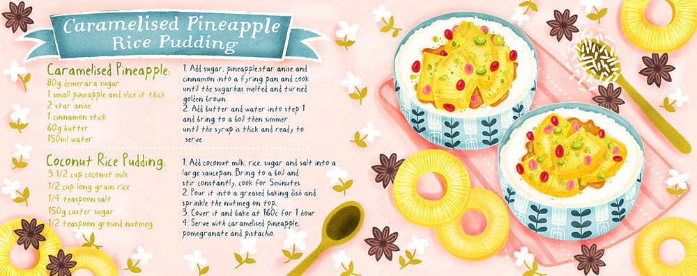 Caramelised Pineapple Rice Pudding Illustration
