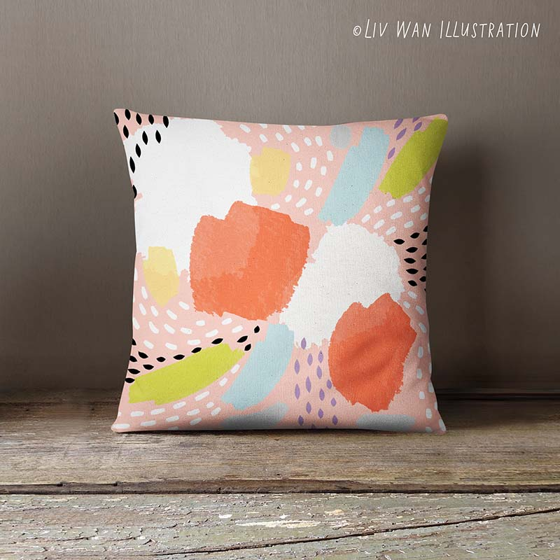 abstract tropical fruit cushion