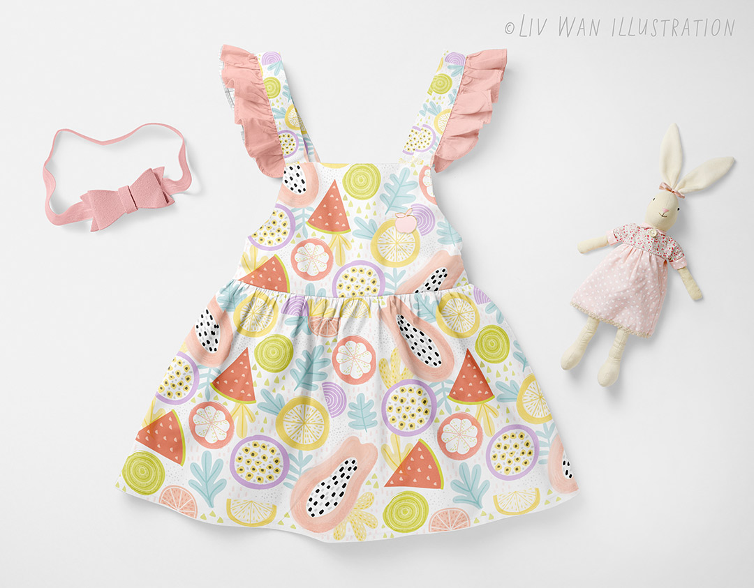 abstract tropical fruit pattern baby dress design