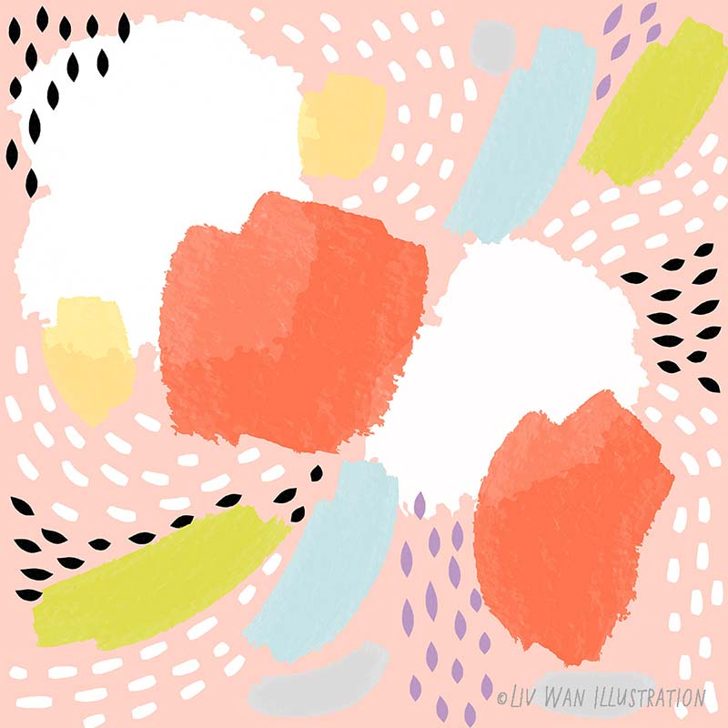 abstract tropical fruit pattern