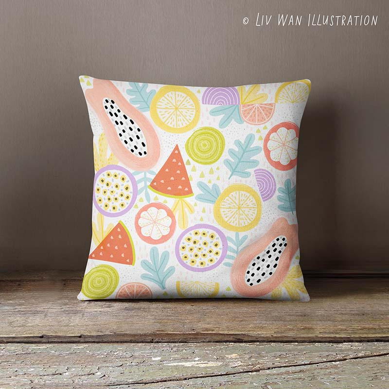 tropical fruit cushion