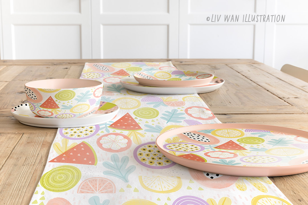 tropical fruit pattern home decor