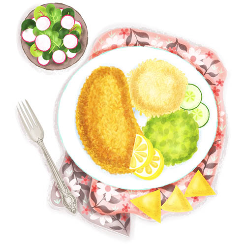 milanese with rice and beans illustration