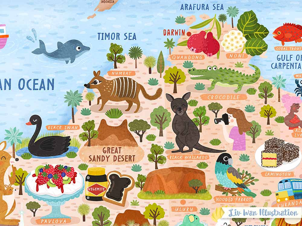 australia map illustration