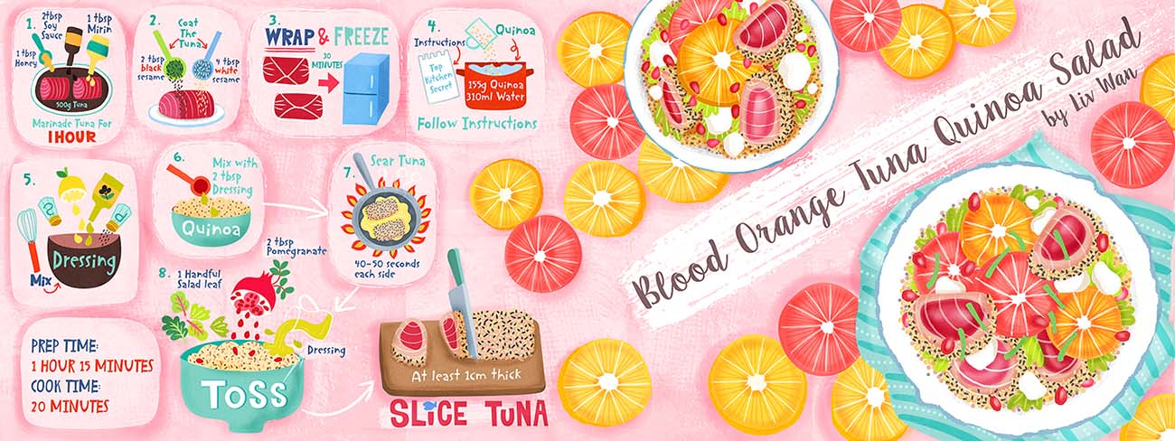 Blood Orange Tuna Quinoa Salad Recipe Illustration