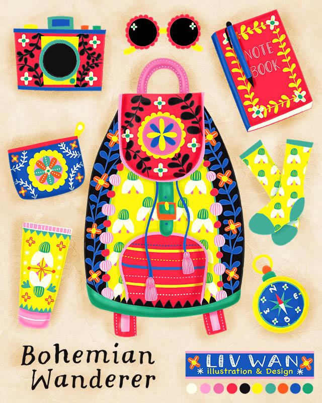 bohemian wanderer illustration