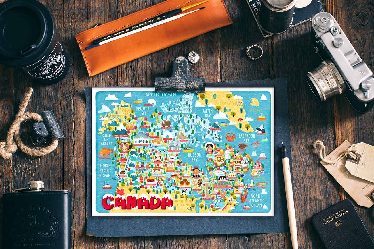 canada illustrated map postcard
