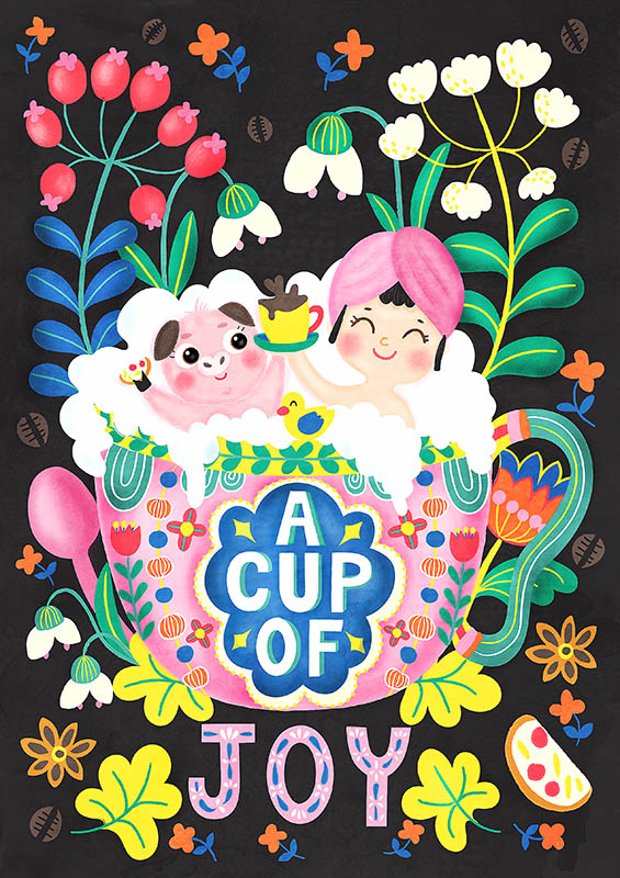 a cup of joy illustration