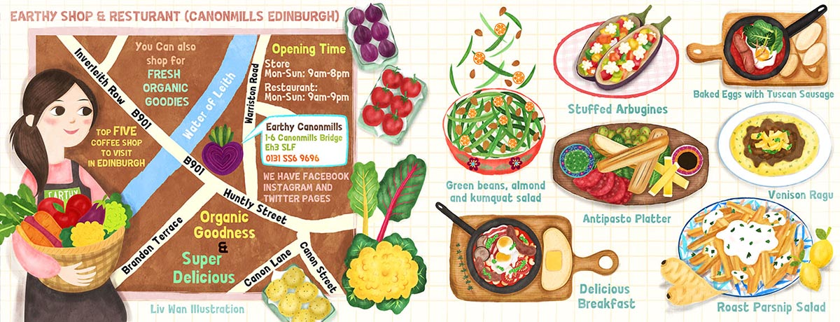 Earthy Restaurant Edinburgh Illustration