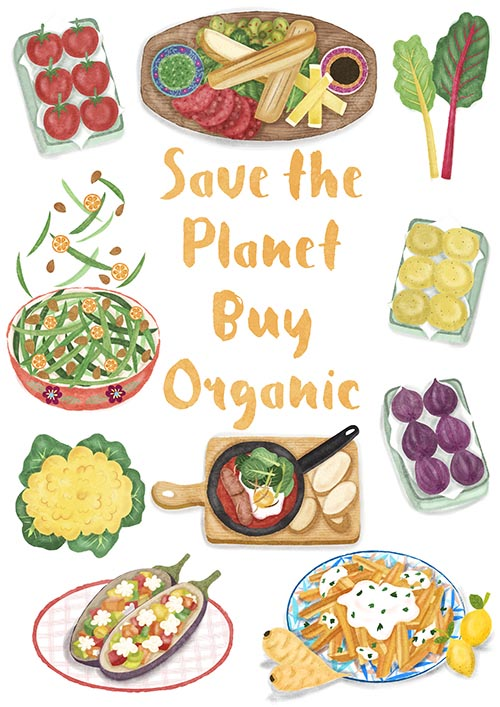 organic food poster illustration