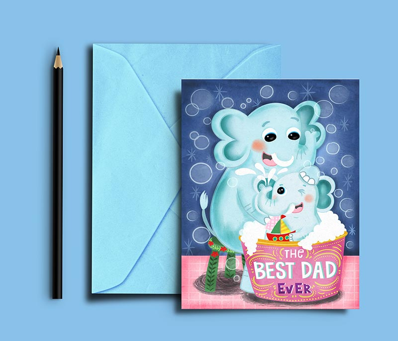 fathers day card illustration