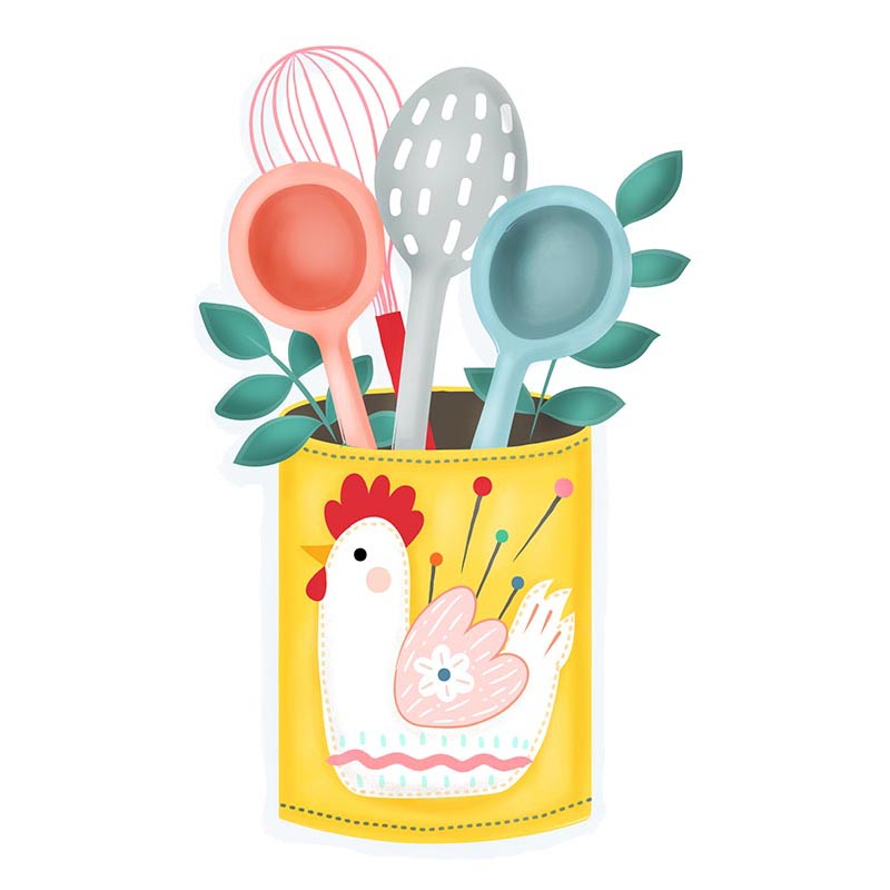 Missy Cluck Utensil Holder illustration