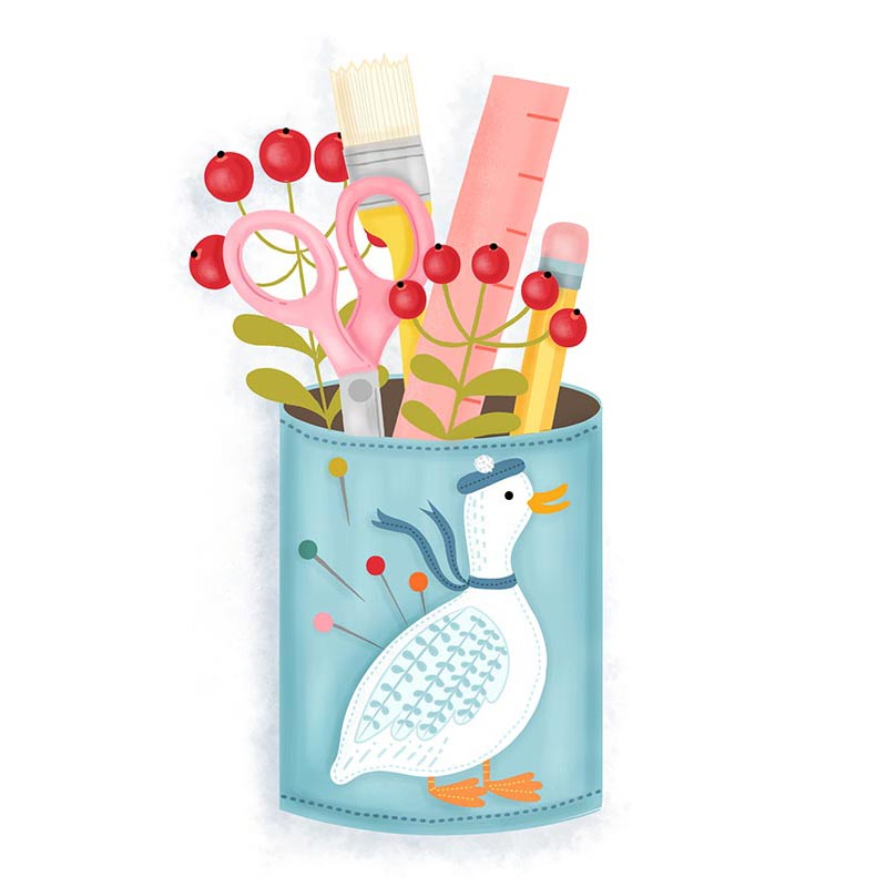 daisy pen holder illustration