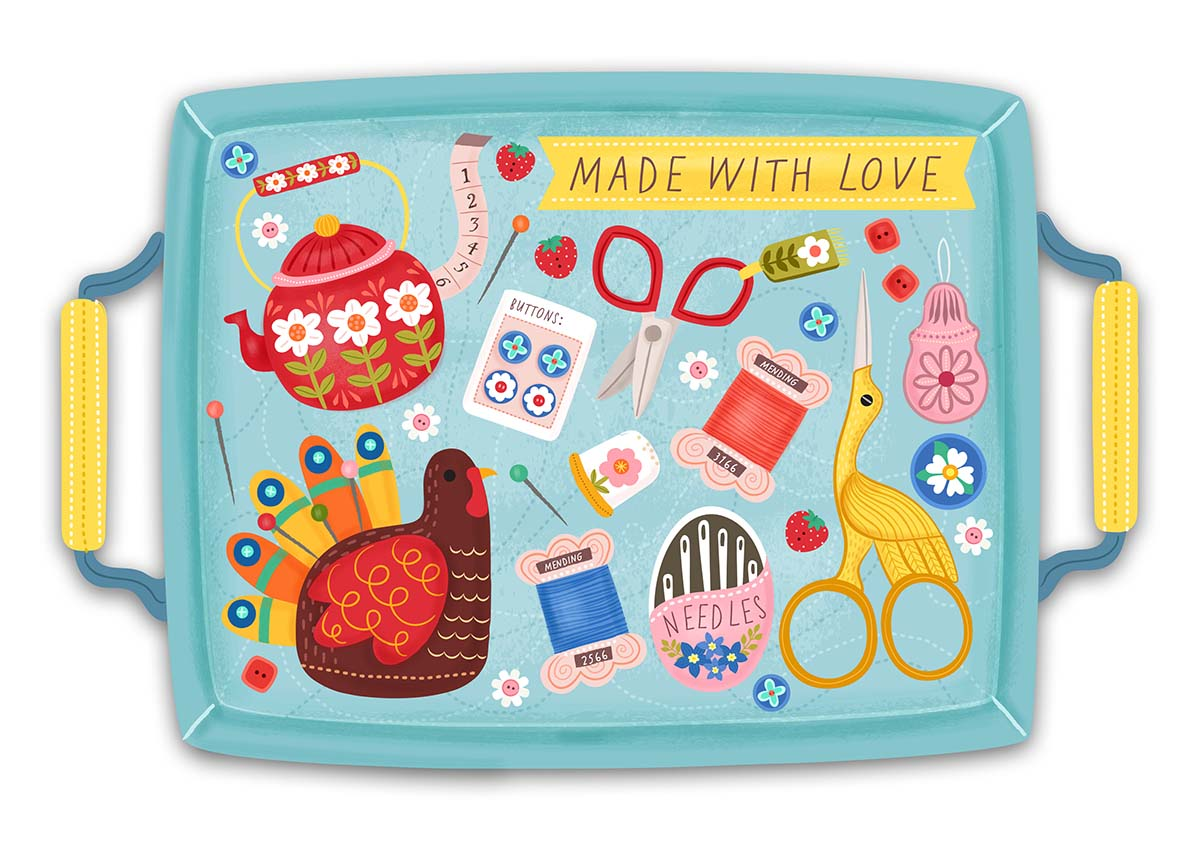 made with love serving tray illustration