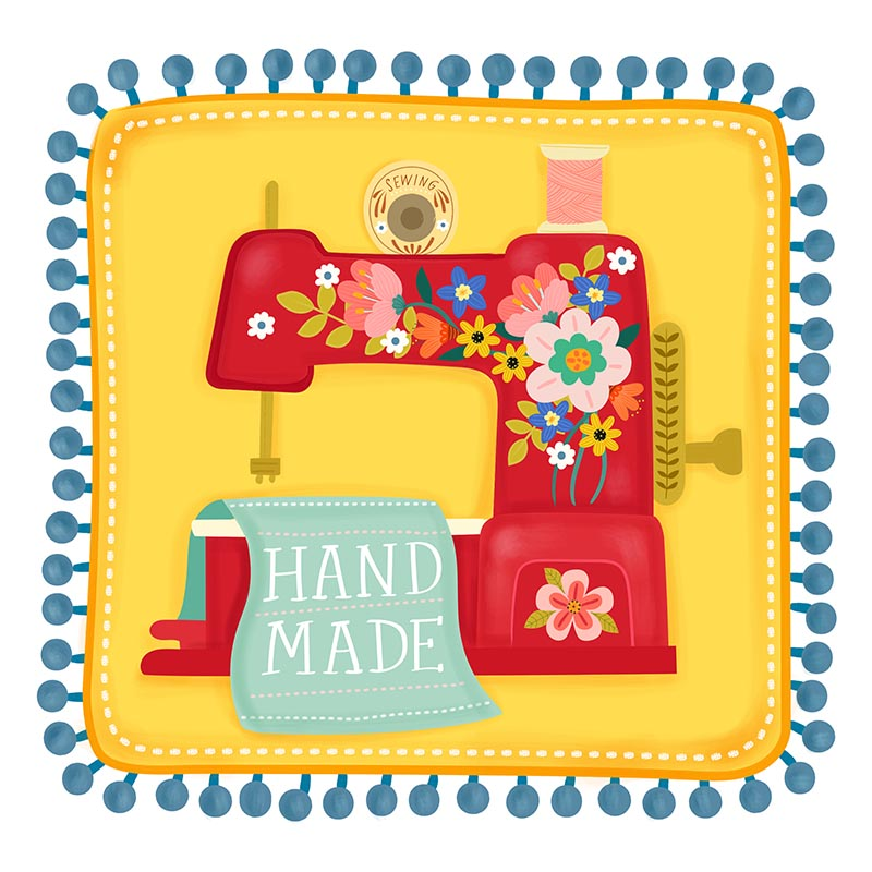 sewing machine pom pom illustration