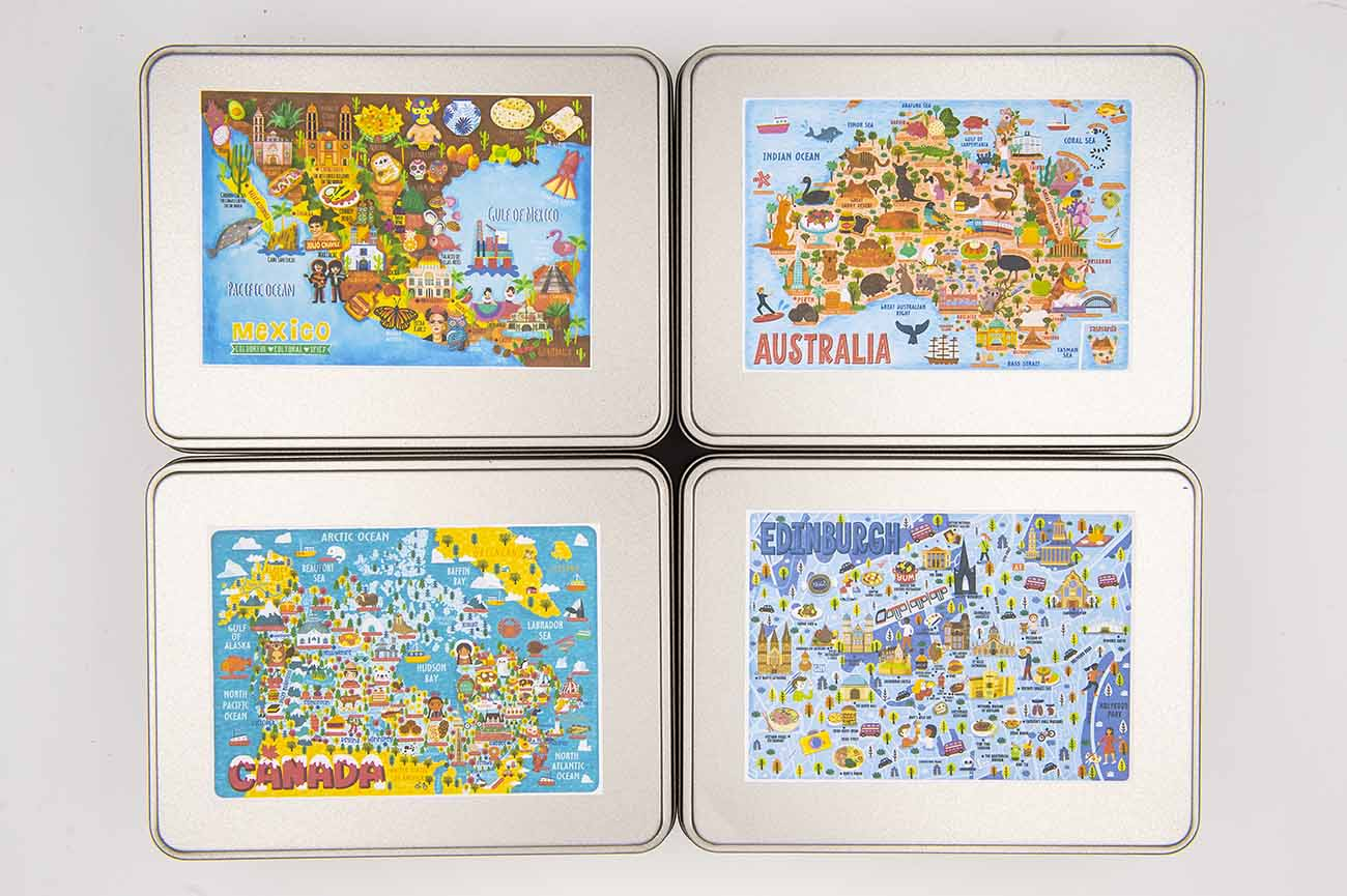 jigsaw puzzle tins