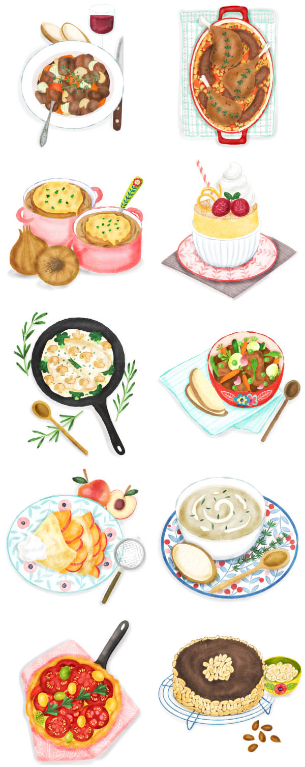 Delicious French food illustrations illustrated by UK based food illustrator Liv Wan