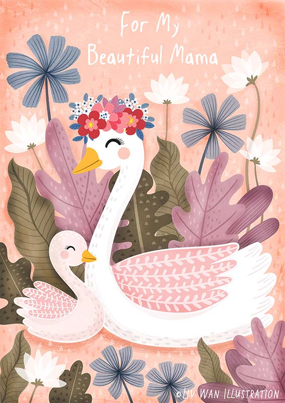 mothers day swan greeting card