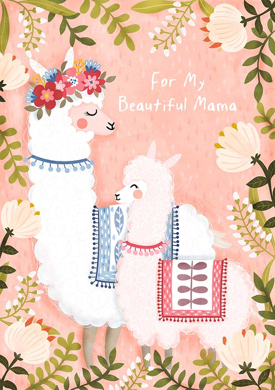 mothers day llama greeting card