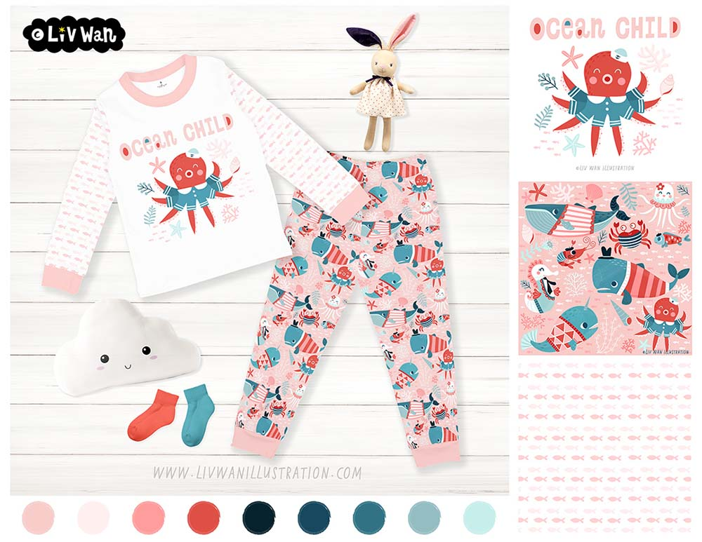 ocean child pattern clothes products