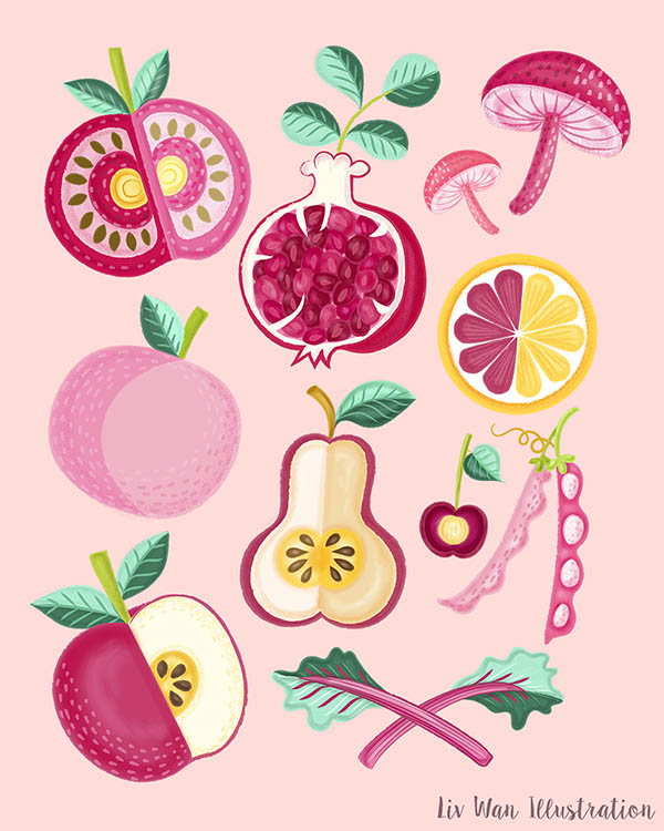 pink food poster illustrations