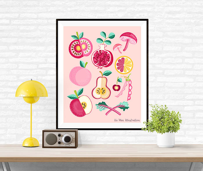 pink food poster illustration framed