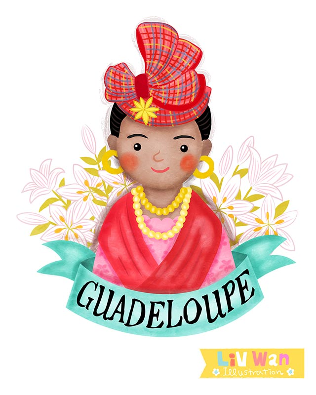 Guadeloupean girl illustration