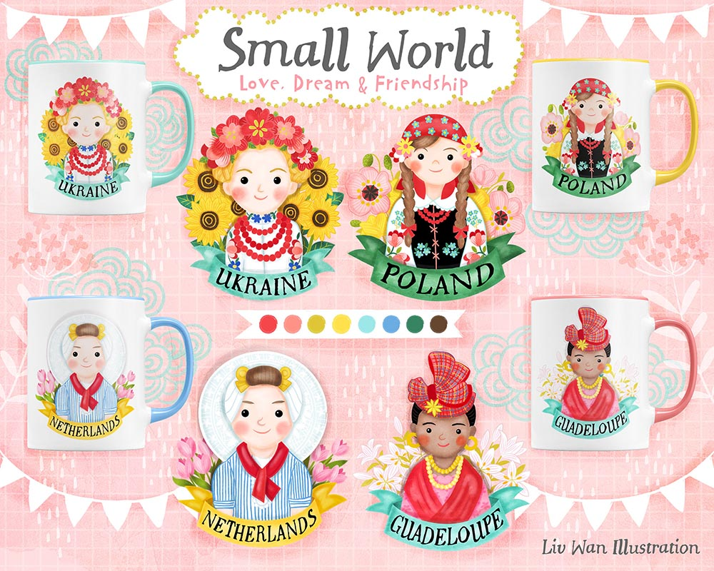 small world ellis island mug illustration