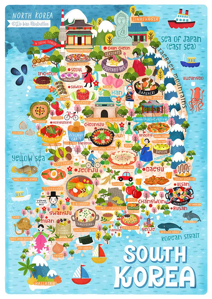 south korea illustrated map