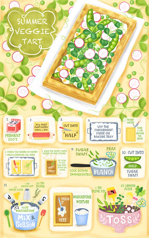 summer veggie tart illustration