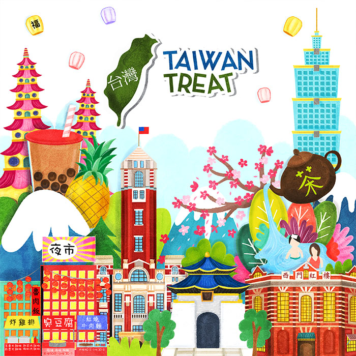taiwan treat packaging illustration
