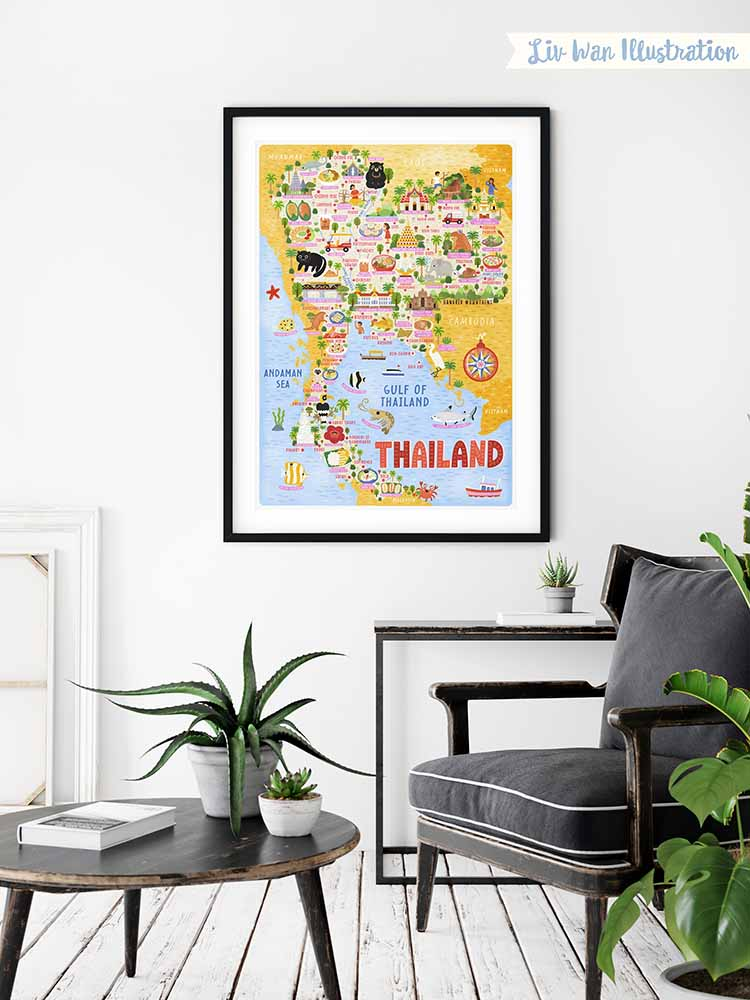 thailand map illustration wall art