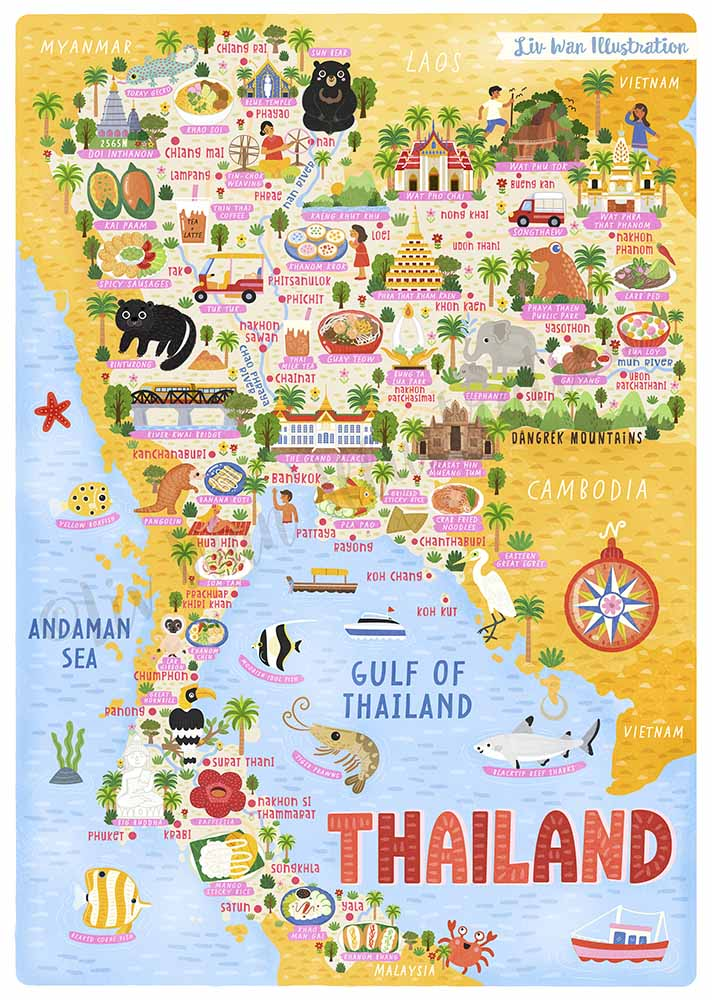 thailand map illustration