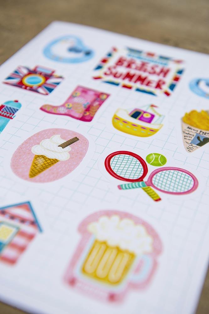 british summer sticker set