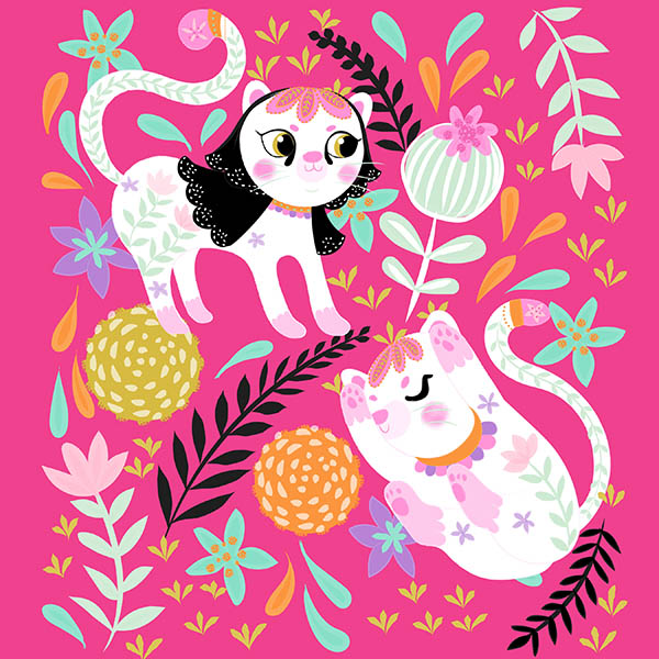 hot pink little white cat illustration