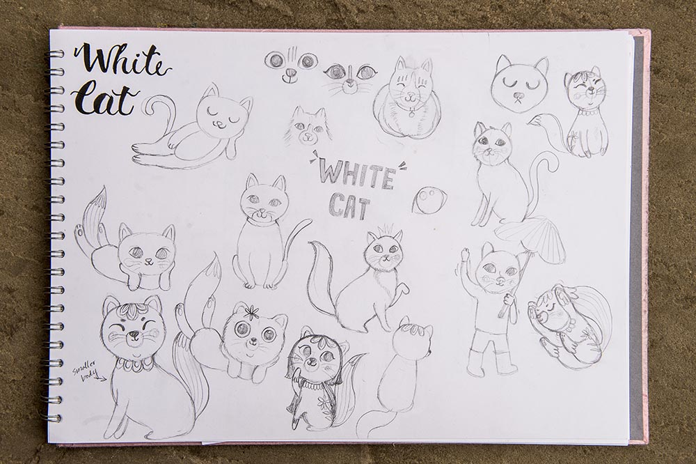 white cat sketch