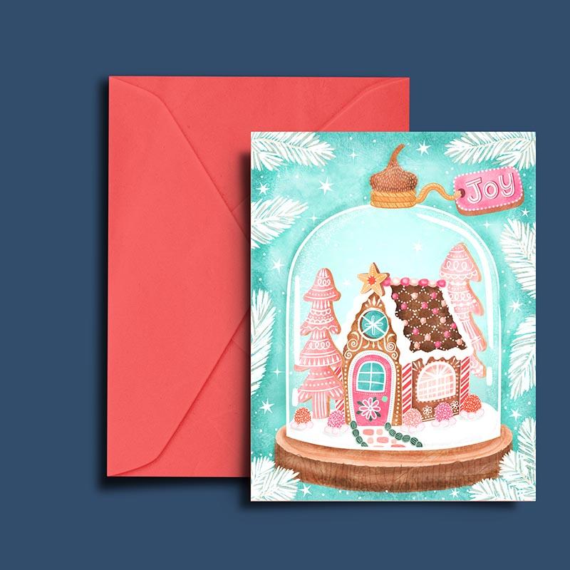 Christmas Gingerbread house snowglobe greeting card illustration