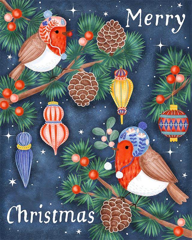 Christmas Robin birds ornaments illustration