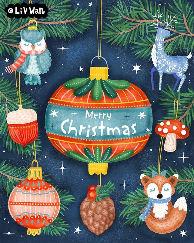 Christmas ornaments woodland illustration