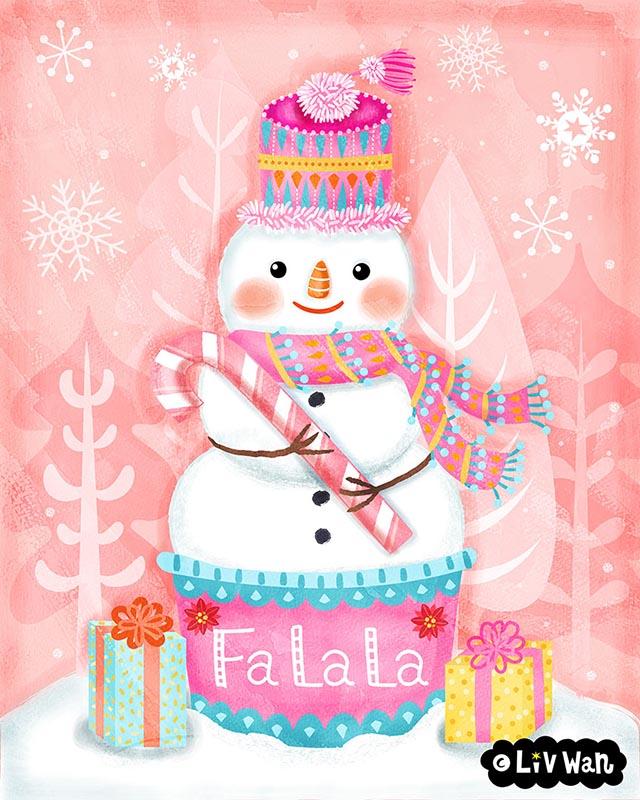 Christmas snowman illustration